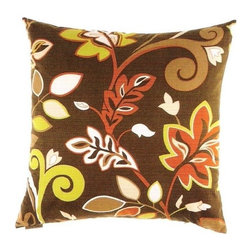"Canaan - 24"" x 24"" Charisma Retro Style Leaf Flower Pattern Throw Pillow - Charisma retro style leaf flower pattern throw pillow with a feather/down insert and zippered removable cover. These pillows feature a zippered removable 24"" x 24"" cover with a feather/down insert. Measures 24"" x 24"". These are custom made in the U.S.A and take 4-6 weeks lead time for production."