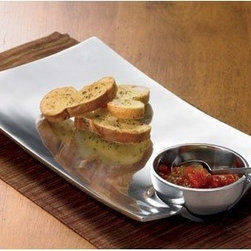 """Rectangular Silver Tray with a Sauce Bowl - This beautiful tray features shiny finish, roomy surface and a matching sauce bowl. It makes this a perfect party tray. Measures 13""""L x 8""""W x 1.5""""H"""