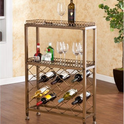 Southern Enterprises - Southern Enterprises Malbec Wine Storage Bar Multicolor - HN2599-8 - Shop for Wine Bottle Holders and Racks from Hayneedle.com! Showoff your best wines with the Malbeck Wine Storage Bar by Southern Enterprises. This great piece is not only decorative its funtional. Distinctive style and ample storage requires minimal space. Ideal in any room and perfect when entertaining. Features 2 glass shelves with 5mm tempered glass and 1 inch lip around the rim. Metal construction with square tube metal and a beautiful antique oiled bronze finish. The lattice style wine rack accomodates up to 25 bottles. Maxium weight capacity 25 lbs. per shelf. Overall dimensions: 28W x 9D x 20.75H inches. Top shelf: 27W x 8D x 1H inches. Bottom shelf: 27W x 8D x 14.25H inches. Space beneath unit: 3.75H inches. The Syrah Riddling Sandwich Board Wine Rack - 36 by Southern Enterprises holds up to 36 wine bottles. The sandwich board or A-Frame style simply supports itself with peg holes to house and display your most popular wine. Constructed from Fir wood with weathered oak finish giving it a unique antique look with the wood plank and deep beautiful wood grain showing through. Folds flat for storing when not in use. Displayed dimensions: 15.5W x 27.5D x 42.25H inches. About SEI (Southern Enterprises Inc.)This item is manufactured by Southern Enterprises or SEI. Southern Enterprises is a wholesale furniture accessory import company based in Dallas Texas. Founded in 1976 SEI offers innovative designs exceptional customer service and fast shipping from its main Dallas location. It provides quality products ranging from dinettes to home office and more. SEI is constantly evolving processes to ensure that you receive top-quality furniture with easy-to-follow instruction sheets. SEI stands behind its products and service with utmost confidence.