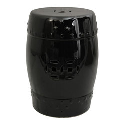 Oriental Unlimted - 18 in. High Solid Black Lacquered Porcelain G - Attractive and practical. Use as a stool or as a drink table. Solid, high temperature, durable fine Chinese porcelain. 13 in. Dia. x 18 in. H (20 lbs.). Seat: 11 in. Dia.