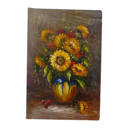 Golden Lotus - Oil Paint Canvas Art Sunflower Wall Decor - Oil painting on canvas.  ( ship in roll, no frame )