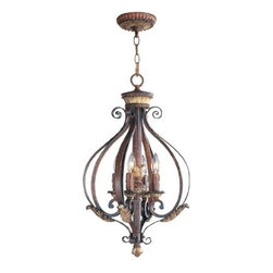 Livex Lighting - Livex Villa Verona Foyer Verona Bronze with Aged Gold Leaf Accents -8556-63 - Livex products are highly detailed and meticulously finished by some of the best craftsmen in the business