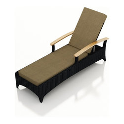 3 Pc. Arbor Reclining Chaise Lounge Set - The Arbor Collection is perfect for creating an upscale look while providing a great value. The 3 Piece Arbor Reclining Chaise Lounge Set by Harmonia Living (HL-AR-3RCLS) is constructed with durable, thick-gauged aluminum frames, which are protected by a powder coating for superior corrosion resistance. The wicker is made of High-Density Polyethylene (HDPE), with its coffee bean color and UV resistance infused into the strands themselves. This creates a rich wicker color that holds up incredibly well with age. Its Grade A teak arms have been kiln-dried, removing excess moisture to ensure it will not crack or warp. Thick, comfy cushions are available in many different fabrics by Sunbrella?, the industry leader in mildew- and fade-resistant outdoor fabric. The end table is topped with a durable tempered glass top.