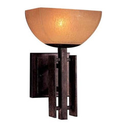 Minka Lighting - Minka Lighting Iron Oxide Single-Light Sconce with Scavo Glass - 6270-357 - This sconce features scavo glass in a square bowl shape. Three vertical bars of dark metal add character to this piece. The amber-hued glass creates warm illumination as the included xenon bulb shines through it. Takes (1) 75-watt xenon T4 bulb(s). Bulb(s) included. Dry location rated.