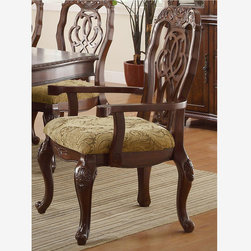 Coaster Formal Cherry Wood Dining Arm Chairs Cushion Seat Ribbon Back - Features