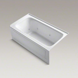 """KOHLER - KOHLER Bancroft(R) 60"""" x 32"""" alcove whirlpool with tile flange, right-hand drain - Enjoy a relaxing hydrotherapy experience with this classically styled whirlpool bath. Fully adjustable jets deliver a strong, steady water massage, while the heated surface warms your back and neck with adjustable temperature settings to create a soothing"""