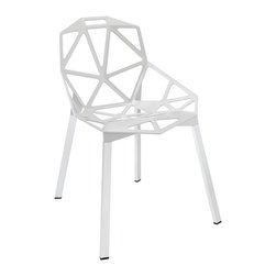 Contempo Chair in White - The special occasion chair just got more fun with this contemporary furniture piece. We love its network of welded aluminum rods and white geometric seat design. Chrome legs and black plastic foot caps add stability to the chair. Take it from table to table, room to room with ease.