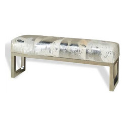 Interlude Home - Interlude Home Aldo Metallic Hide Bench - This Interlude Home Bench is crafted from Stainless Steel and Hide and finished in Polished Nickel and Gray Metallic Hide.  Overall size is:  45 in. W  x  12 in. D x 18 in. H.