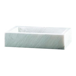 Pegasus - Pegasus Vessel Sink in White (58033) - Blending functionality and style, the Pegasus Rectangular Block Marble Vessel Bowl in White sports a marble construction in a rectangular block design for a sharp, elegant accent for your bath or powder room. A standard-sized drain makes this sink easy to implement into an existing setup.