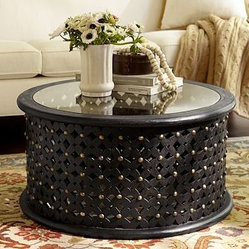 Bamilkeke Round Carved Wood Coffee Table with Glass Top, Antique Black finish