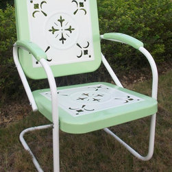 4D Concepts - Outdoor Metal Chair in Green - Green finish. Outdoor chair is great for all of your outdoor needs. Seats and backrests are trimmed in a vibrant shade of vintage Green. Decorative cut out design makes this chair a very stylish and sophisticated look. Metal arms with red metal capped armrest are a finishing touch to an outstanding chair. Clean with a dry non abrasive cloth. Assembly required. 27 in. W x 22.5 in. D x 35.5 in. H (31 lbs.)