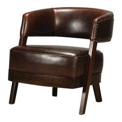 Sterling Industries - Leather & Walnut Open Back Chair - Leather & Walnut Open Back Chair