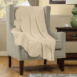 Madison Park - Madison Park Marino Oversized Quilted Throw - Marino is the perfect quilted throw for a new solid look. The decorative stitch pattern pairs easily with your existing décor and will sure to add a new decorative element with the beautiful scalloped edges.