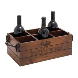 Benzara - American Western Cowboys Themed Wooden Metal Wine Holder - American western cowboys themed wooden metal wine holder. This classic cowboy themed wine holder is perfect to compliment your expensive and Rare Wine collection. Some assembly may be required.