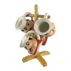 Zeckos - Funny Fat Chef 4 Piece Coffee Mug Set Wooden Holder - This funny Fat Chef 4 piece coffee mug set will look great on your kitchen counter. Made of ceramic, the 12 ounce mugs are microwave and dishwasher safe. They feature bright colors and excellent detail. Each mug measures 4 1/4 inches tall, 4 1/4 inches deep and 5 1/4 inches wide, including the handle. The set comes with a wooden mug rack. It makes a great gift for cooking fanatics.