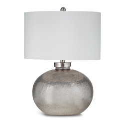 Bassett Mirror - Gardena Table Lamp - This table lamp features a round silver leaf design with matching silver leaf finial.  Single detent switch for high efficiency CFLS bulbs.