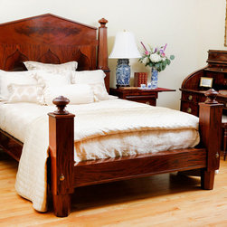 "Antique Empire Bed in Mahogany, c. 1840 - Adapted to fit Queen mattress, Dimensions : 67"" wide; 93"" deep; 67"" high."