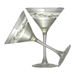 Golden Hill Studio - Pewter Vine Martini Glasses Set of 2 - If you need a reason to host a happy hour at your home, you have found it. This hand-painted martini glass whispers sweet nothings in your guests hands as they flit about, enjoying the libations. Don't be surprised if you have to start turning people away at the door.
