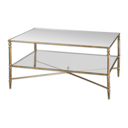 Uttermost - Henzler Mirrored Glass Coffee Table - Mirrored furniture is like red lipstick. It's not for the faint of heart. In your space, this mirrored table will add a touch of glamour and the heavily antiqued mirrors add a bit of mystery. It's clean and simple yet reflective and textured. Is it for you?