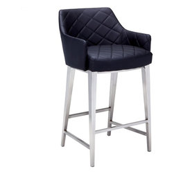 Sunpan - Chase Counter Stool, Black Leatherette and Brushed Stainless Steel - This sleek yet transitional stool features brushed stainless steel legs with a diamond tufted seat and back. Stocked in grey, black and white leatherette with fire rated CA foam. Sits beautifully. No assembly required.