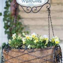 Panacea New Welcome Hanging Basket - About PanaceaCelebrating over 40 years of manufacturing excellence, Panacea Products is a family-owned company started in 1967 by Frank Paniccia. The company has evolved as a manufacturer supplying products to a variety of industries. Today, their consumer products include decorative metal products for the garden and hearth industry, home organization items, and flower-arranging tools for the craft industry. They also produce a variety of industrial steel, glass, and plastic products.