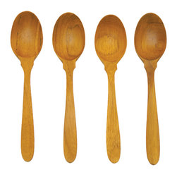 Be Home - Teak Coffee Spoons, Forks, and Butter Knives, 12 Piece Set - Tweak your table with teak utensils. This 12-piece set (four spoons, four forks and four butter knives) is crafted from excess material the logging industry leaves behind.