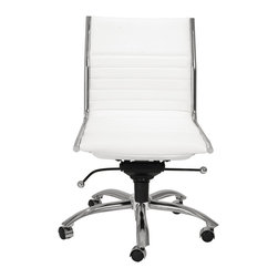 Eurostyle - Dirk Low Back Office Chair W/O Arms-Wht/Chrm - Leatherette over foam seat and back