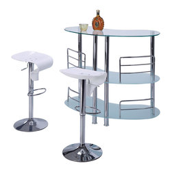 Global Furniture - Global Furniture USA MBT02 3 Piece Half Moon Frosted Bar Table Set w/ Chrome Leg - This stylish and contemporary bar table encompasses a cool feel ideal for entertaining your guests. This piece features a top surface ideal for making  cocktails, and two glass shelves that are perfect to stock all of your bar essentials. The unique frosted surfaces and chrome metal accents complete the look of this unit, making it a must-have item.