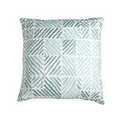 TRIBAL PILLOW - TURQUOISE - Geometric shapes that resemble zebra stripes can be fun or serious. Use several colors together for added drama, or use individually to add or highlight an accent color in existing décor.