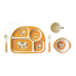 Bamboo Studio - Bamboo Studio Bamboo Kids 5-Piece Orange Cow Set - This five-piece bamboo dishware set is ecofriendly, dishwasher safe and downright charming. Adorned with spotted cows and cheerful flowers, it's sure to delight your little ones. And thanks to its durable construction, you can use it till the cows come home.