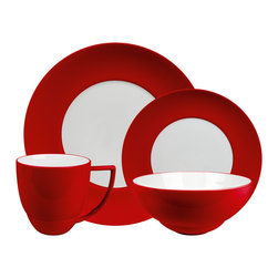 Waechtersbach - Uno 16 Piece Place Setting Set Chili - Add a kick of color to your table with this festive dinnerware set. You get four place settings that include a dinner plate, salad plate, bowl and mug. The pieces are dishwasher safe, and are great to mix and match with other colors for a casual, collected feel.