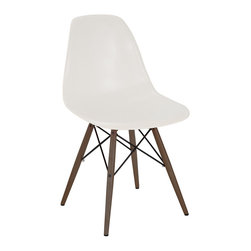 Design Lab MN - Mid Century Almond Side Chair with Walnut Wood Base (Set of 5) - Based on the classic Eames DSW side chair designed in 1950 by Ray and Charles Eames. Our Mid Century Side Chair is a high quality reproduction made from polypropylene with dark brown base legs, this contemporary version of the legendary DSW chair is both stylish and comfortable.