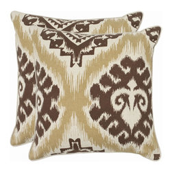 Safavieh - Lucy Accent Pillow  - 18x18 - Brown,White - Lucy Accent Pillow  - 18x18 - Brown,White