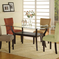Coaster - Bloomfield Collection Dining Table in Cappuccino - This rectangle based dining set is designed for plenty of leg room. Made of birch wood and finished in cappuccino. Micro fiber matching parson chairs also available in 4 beautiful colors.