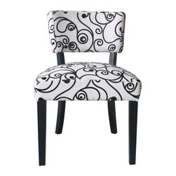 4D Concepts - Cosmo Oversize Accent Chair - Bring an extra touch of elegance to your home decor with this beautifully crafted chair. . The gorgeous black and white swirl fabric gives this chair a distinct and one of a kind look. . The oversize chair features shaped wooden legs finished in a black finish that blends with the the fabric. . The shaped back add that extra flair that will make this chair good for any room in the home.. Assembly Required. 21.25 in W X 25 in. D X 32.68 in H (19 lbs.)