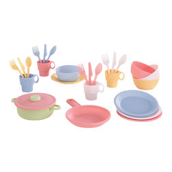 """KidKraft - Kidkraft Kids Home Indoor Pretend Play Toy 27 Piece Fun Cookware Set Pastel - Your little chef can now prepare and serve delicious imaginary culinary delights with KidKraft's 27 Piece Kitchen Play Set. Dimension: 9"""" W x 10.25"""" L x 3.75"""" H Plate Diameter"""