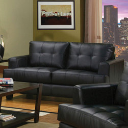 Coaster - Samuel Collection Black Transitional Love Seat - The Samuel Collection offers style and comfort with its clean lines and attached seat cushions. The only way to truly appreciate this collection is to sit and experience it.