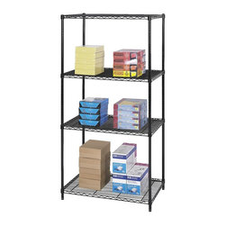 Safco - 36 in. Industrial Wire Shelving Starter Unit in Black - Industrial shelving unit is ideal for workshop, office supplies even the laundry room. Thanks to its steel construction with black powder coat finish, this unit can hold a lot of weight on three wire shelves. Four posts allow height adjustment for shelves at one-inch increments. Three open wire shelves. Four posts. Snap-together clips. Prevents dust accumulation. Powder coated finish. Material Thickness: 10 ga. (shelf surface), 3 ga. (frame), 16 ga. (post), 6 ga. (wave pattern). Shelf adjusts in 1 in. increments. 1000 lbs. evenly distributed shelf carrying capacity. 2500 lbs. evenly distributed overall carrying capacity. GREENGUARD Certified. Made from steel. Available in additional finish. 36 in. W x 24 in. D x 72 in. H (61 lbs.). Assembly InstructionGet wired! With Wire Shelving you're sure to get the storage space you need. These shelves are designed to get your office organized and keep it that way. Easily store office supplies, break room supplies, paper, marketing materials and other supplies so they are easy to find and incur no damage. Great for your supply room, storage area, mail room, warehouse, storage closet, garage area or even a classroom, assembly area or production area. Get storage where you need it, and always be able to find what you're looking for!