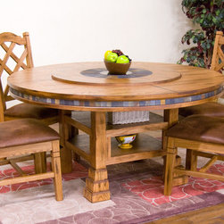 """Sunny Designs - Sedona 5 Pc Round Table and Double Crossback Chair Set - Sedona 5 Pc Round Table and Double Crossback Chair Set; This set includes dining table and 4 chair; Distressed oak solids and veneers; Natural slates; Adjustable heights (30""""H-36""""H); Pop-up lazy susan (34""""R) with slate; Granite center (18""""R); Rustic oak finish chair; Double crossback style; Easy wipe cushioned seat; Simple assembly, RTA; Weight: 339 lbs; Dimensions:Table: DIA 60"""" x 30""""-36"""""""