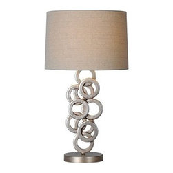 Ren-Wil Brunella LPT433 Table Lamp - 26H in. Antique Silver - The Ren-Wil Brunella LPT433 Table Lamp - 26H in. Antique Silver brings jewelry-inspired design home. Its collection of rings in an antiqued silver finish create the look. Its beige linen drum shade crowns this lamp and perfectly diffuses the light from its 100-watt bulb (bulb not included).