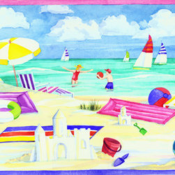 Murals Your Way - Beach Fun Wall Art - Painted by Paul Brent, the Beach Fun wall mural from Murals Your Way will add a distinctive touch to any room
