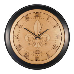 Design & Board, Inc. - Fluer De Lis Wall Clock - Our original Fleur-De-Lis design is a stylized version of this well known historic symbol. The stylized form that derives from the Lilly flower is used by cities, organizations, and families for centuries. The Design and Board version tastefully coordinates with a variety of décor styles.   The Fleur De Lis Clock offered only by Design & Board is created, crafted and assembled in the U.S..  All our clocks are individually engraved, precision cut and carefully hand assembled. Each piece is made with multiple layers of natural Birch wood and finished with a durable clear lacquer finish to ensure quality.