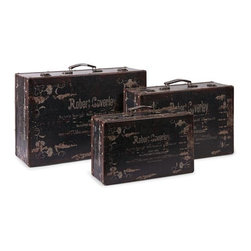iMax - Walden Suitcases, Set of 3 - Inspired by door to door salesmen from an earlier time, this set of three suitcases feature vintage graphics and are a great collection to add to any decor.