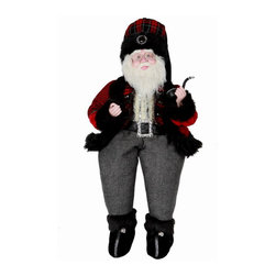 Winward Designs - Glamorous Sitting Santa - A handsome santa figurine that is needed to complete your holiday decorations this year! Made of resin (head & hands) and premium fabrics.