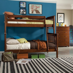 Bolton Furniture - Bolton Mission Twin Over Full Bunk Bed - Chestnut - 9928700 - Shop for Bunk Beds from Hayneedle.com! Timeless and practical the Bolton Mission Twin Over Full Bunk Bed - Chestnut is perfect for any kid's bedroom. This bunk bed is crafted of hardwood solids and veneers in a warm chestnut finish. Both beds feature mission style slatted headboards and footboards. The ladder provides safe and easy access to the top twin bunk.About BoltonBolton Furniture is proud to offer consumers quality wood pieces at affordable prices since the early 1900s. Located in Vermont Bolton selects its lumber locally. Each piece is carefully crafted from the beginning stages of kiln drying to the packaging of the finished product. Having specialized in the detailed wood-craftsmanship of musical instruments Bolton Furniture perfected woodworking in the 1970s. This means that their furniture pieces are created with extreme attention to detail and superior precision. Bolton Furniture's reputation is built on its products - durable lasting and beautiful.