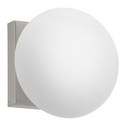 Eglo - Eglo 89321A 1 Light Wall Sconce Etoo Collection - (Bulb Included) - Eglo 89321A Etoo 1 Light Wall SconceProviding both illumination and beauty, this wall sconce from the Etoo Collection features Globe Shaped White Glass attached to simple bar shaped Matte Nickel Finish hardware. For those looking for clean and simple outlines, this fixture will make a perfect fit.Eglo 89321A Features: