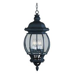 Joshua Marshal - Four Light Black Clear Glass Hanging Lantern - Four Light Black Clear Glass Hanging Lantern
