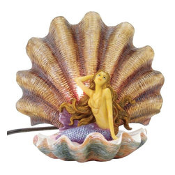 TLT - 9.25 Inch Hand Painted Resin Mermaid in a Clamshell Table Lamp - This gorgeous 9.25 Inch Hand Painted Resin Mermaid in a Clamshell Table Lamp has the finest details and highest quality you will find anywhere! 9.25 Inch Hand Painted Resin Mermaid in a Clamshell Table Lamp is truly remarkable.