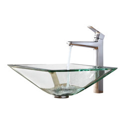 Kraus - Kraus Clear Aquamarine Sink, Virtus - Add a touch of elegance to your bathroom with a glass sink combo from Kraus