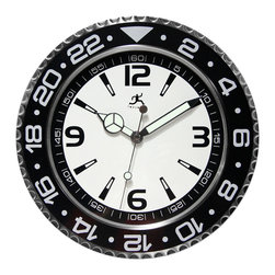 Infinity Instruments, Ltd. - Bazel Clock - Infinity Instruments Bazel watch style designed steel wall clock is a classic sports watch designed clock that will look great in most homes. With large 12, 3, 6, and 9 Arabic Numerals and luminous hands make this classic style clock easy to read.